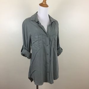 CLOTH & STONE Long Sleeve Green Button Shirt